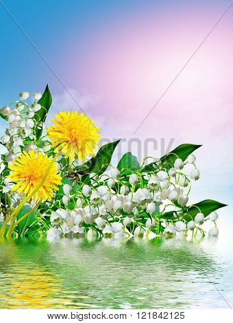 Flowers Lily Of The Valley And Blue Sky With Clouds