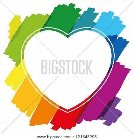 Heart Shaped Frame Brush Strokes Colors