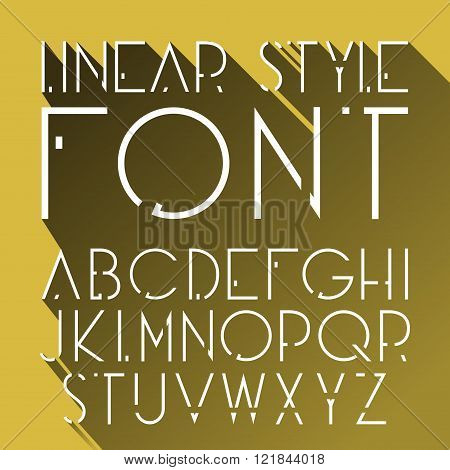 Vector linear font - simple and minimalistic alphabet in line style. Cosmic style.