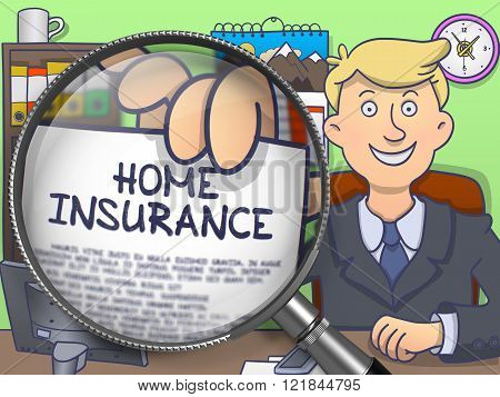 Home Insurance through Magnifying Glass. Doodle Style.