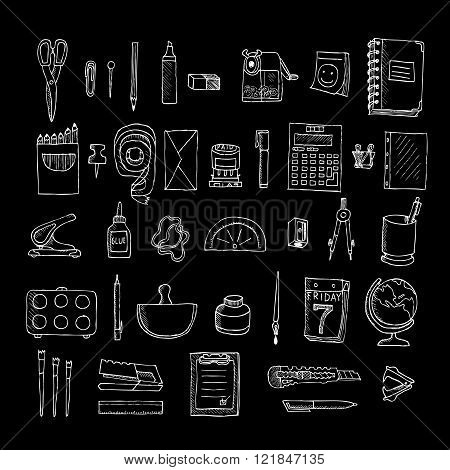 Set  of stationery. Doodle. Isolated on a black background.