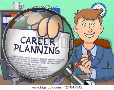 Career Planning through Magnifier. Doodle Concept.