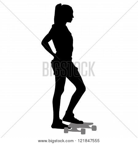 silhouette of girl with a skateboard on a white background