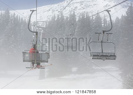 Ski Lift In Fog