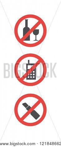 Attention sign no alcohol, no phone and no makeup and attention sign symbols. Attention sign set of red attention symbols communication concept flat vector illustration icon.