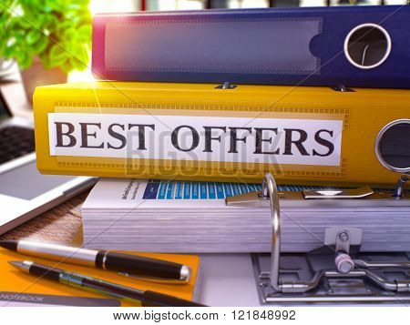 Best Offers on Yellow Office Folder. Toned Image.