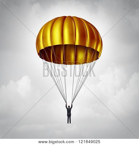 Golden parachute concept as a businessman parachuting safely down with a gold landing gear as a business benefits and award symbol for a company agreement with an executive employee that is stepping down or resigning.