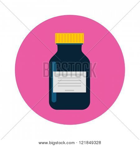 Medicine bottle in flat style and pill bottle isolated on color background. Prescription bottle icon. Pill bottle vector illustration icon.