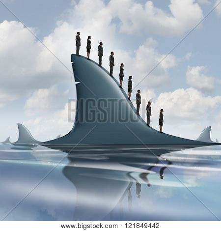 Concept of risk business metaphor as a group of courageous or unaware businesspeople standing on the dorsal fin of a giant shark as a symbol for overcoming company fear and having guts to be fearless.