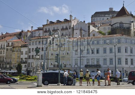 City Life In Square In Coimbra
