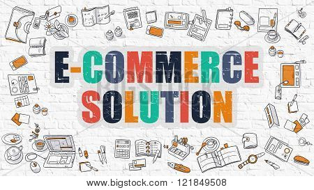 E-Commerce Solution Concept with Doodle Design Icons.