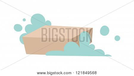 Wet soap with foam cleaning washing, laundry soap with foam hygiene laundry domestic washing. Piece of brown laundry soap with foam flat vector illustration on white.