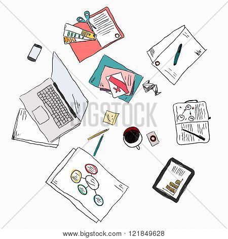Business Meeting Concept Top View People Hands Sketch Vector Illustration