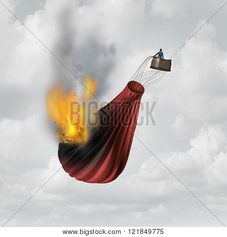 Business distress concept and financial problem symbol as a businessman in a burning falling hot air balloon that is in flames as a metaphor for failure.