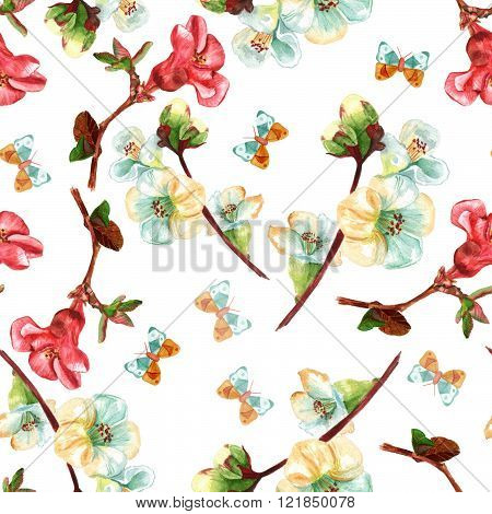 Seamless Background Pattern With Watercolor Flowering Quince With Butterflies