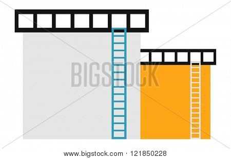 Oil reservoir or oil tank energy steel tower, oil tank technology station vector. Two big industrial oil tanks in a refinery fuel industry container flat vector illustration.