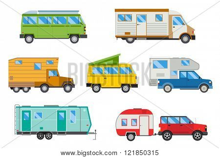 Campers vacation travel car and campers car for summer travel. Vector illustration set of different campers travel car flat transport.