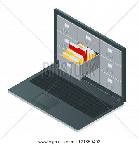 File cabinets inside the screen of laptop computer. Laptop and file cabinet. Data storage 3d isometric illustration. File cabinets concept. File cabinets vector. Laptop computer isometric poster