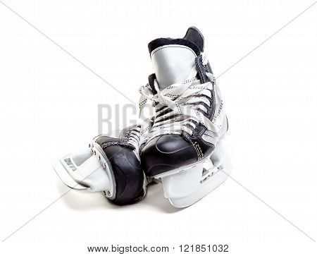 Closeup Of A Pair Of Ice Hockey Skates