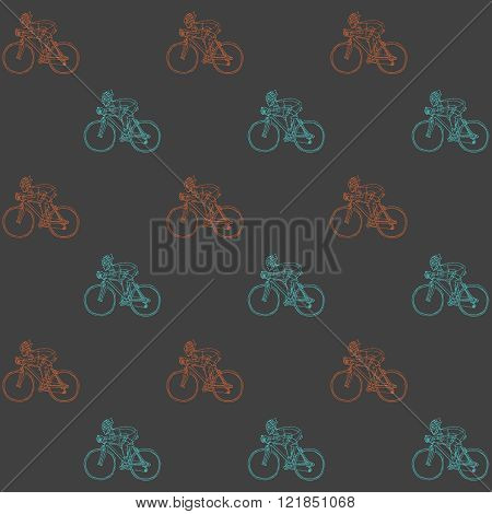 Seamless pattern with racing cyclist. Hand drawn vector illustration.