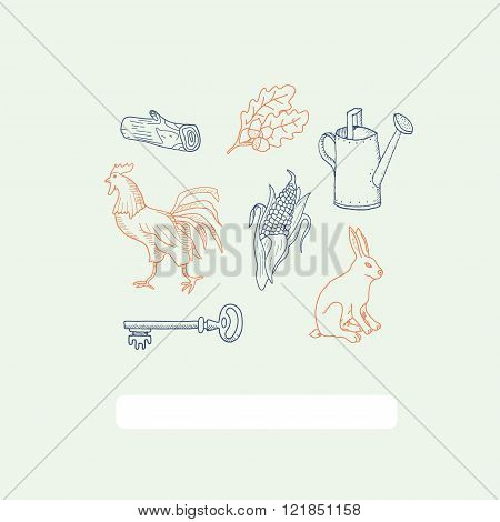 Vintage card with different elements. Rabbit, rooster, corn,oak leaves, watering can, log, key. Vect