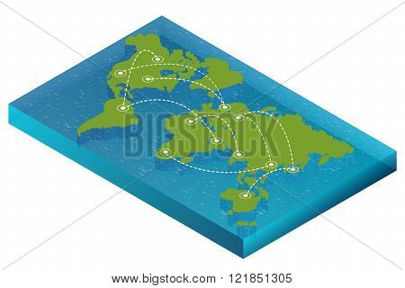Map world isometric concept. 3d flat illustration of Map world. Vector world map connection Politica