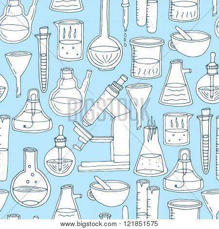 Hand drawn chemistry seamless pattern