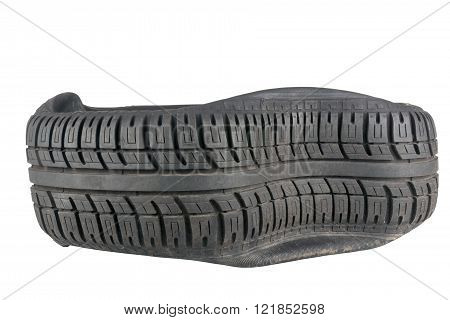 Closeup Of Irregular Pattern In Tread On Tire After A Blowout
