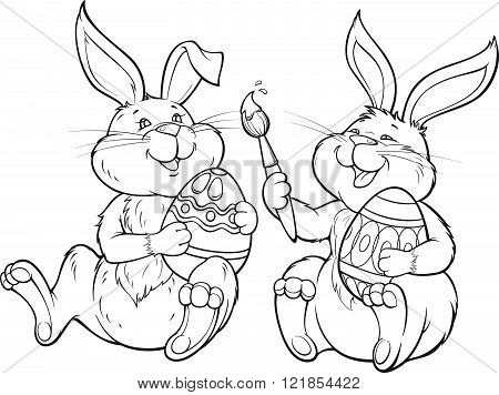 Two happy lovely rabbits paint the easter eggs.