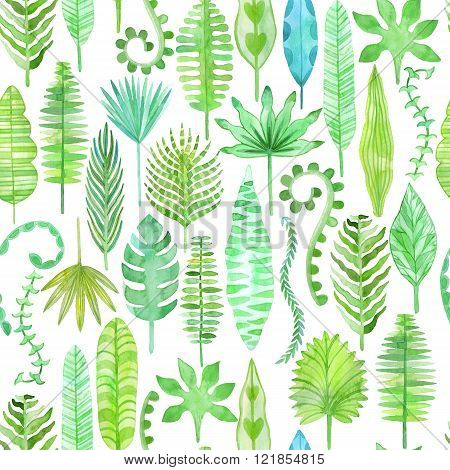 Watercolor tropical leaves seamless pattern. Jungle background