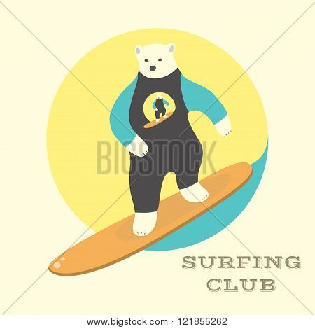 Polar Bear rides on a surfboard.