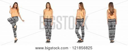 Young sexy woman in summer pants isolated on white