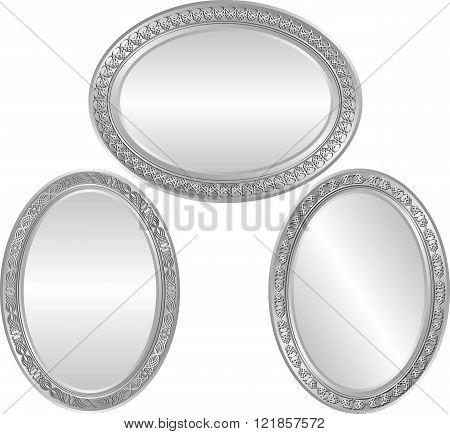 set of isolated silver frames - vector illustration