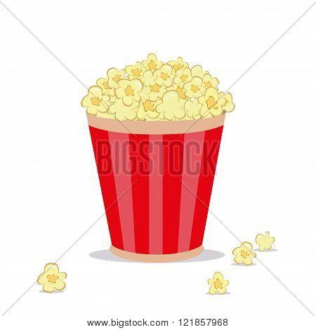 Popcorn in striped bucket flat cartoon vector illustration on white background. Sweet popcorn in striped bucket. Cinema food popcorn in striped bucket.