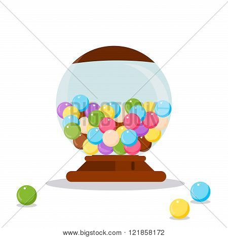 Vector Gumball Machine illustration. Gumball bubblegum machine dispenser vector illustration. Funny Gumball Machine. Gumball Machine colorful candy. Gumball Machine. Gumball Machine design.