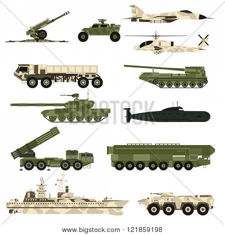Military technic army, war tanks and military industry technic armor tanks set. Military technic and armor tanks, helicopter, hurricane, missile systems, submarine, armored personnel carriers vector.