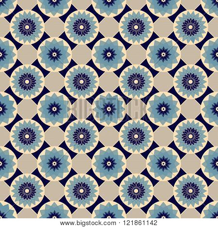 Blue And Beige Vector Seamless Abstract Floral Vintage Texture. Vector Illustration