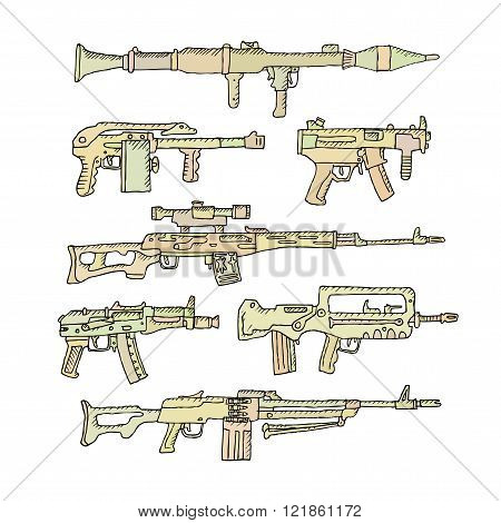 Heavy weapons in doodle style on a white background.