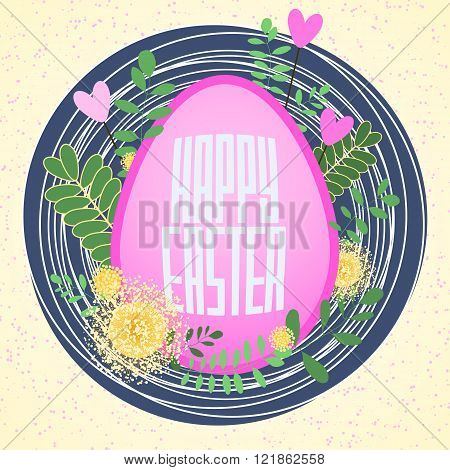 Big pink egg with abstract nest, spring flowers and leaves. Happy Easter greeting background for car