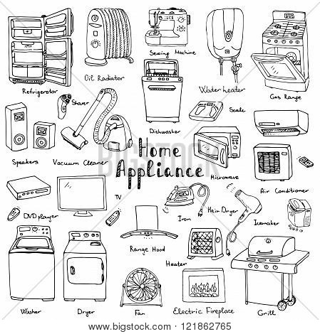 Hand drawn doodle Home appliance vector illustration Cartoon icons set Various household equipment and facilities Major and small appliances Consumer electronics Kitchenware Freehand vector sketches poster