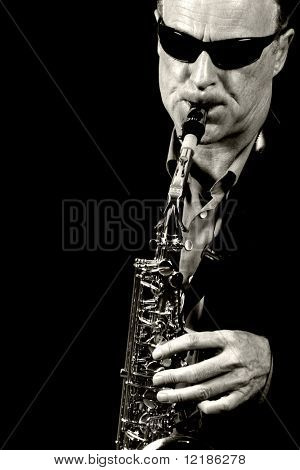 jazz saxophone player black and white