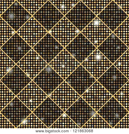 Golden Vector Seamless Chess Styled Vintage Texture With Shining Rounds. Vector Illustration
