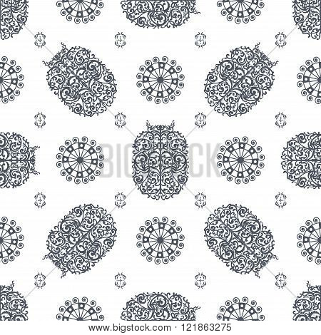 Grey And White Ancient Vintage Seamless Ornamental Texture. Vector Illustration