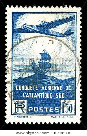 rare 1930s vintage French aircraft stamp