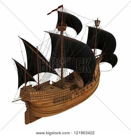 Pirate Ship Over White Background
