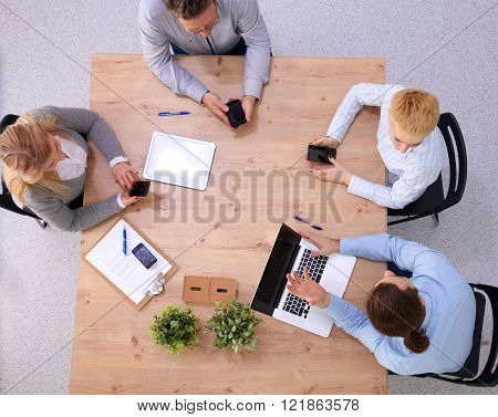 Group of business people working together on white background