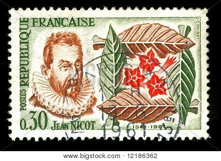 vintage french stamp depicting Jean Nicot who introduced Tobacco to France, and gave his name to Nicotine the active Ingredient in tobacco and snuff
