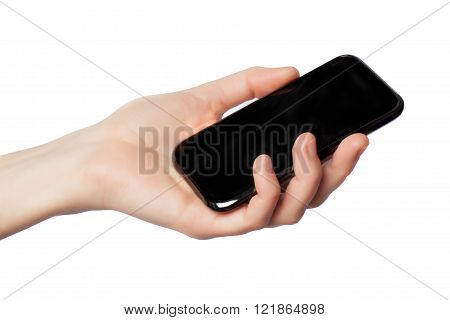 female hand with telephone on a white background