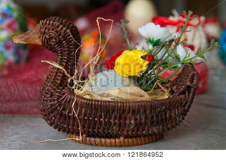 Decorated basket.