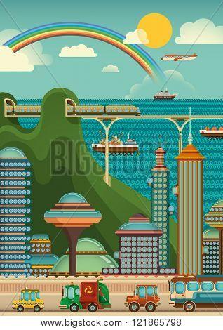 Urban city scene. Vector illustration.